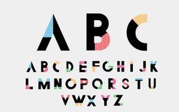 Alphabetic fonts. Color alphabetic fonts with color lines. Blue, red, orange, green, pink. Vector eps10 illustrator vector illustration