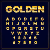 Alphabetic fonts Gold letter with numbers. Vector EPS10. Royalty Free Stock Image