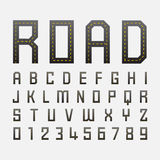 Alphabetic fonts and numbers with road style Royalty Free Stock Image