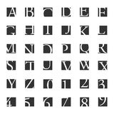 Alphabetic fonts and numbers Stock Photos