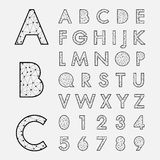 Alphabetic fonts and numbers Royalty Free Stock Image