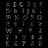 Alphabetic fonts and numbers Stock Photo