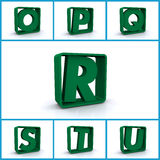 Alphabetic letters in boxes Stock Photos