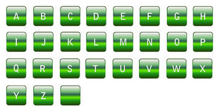 Alphabetical green characters Stock Photo
