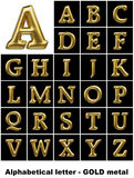 Alphabetical letters in gold metal Stock Photo