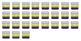 Alphabetische blaue gelbe Zeichen Stockfotografie