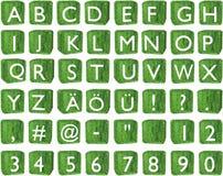 alphabetische Zeichen 3D auf Würfel (Kapitalien) Stockfotos