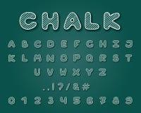 Alphabetkreidedesign Schriftbildclipart Versalienbuchstaben, Zahlen und Interpunktionszeichen Gussvektortypographie Hand gezeichn lizenzfreie abbildung