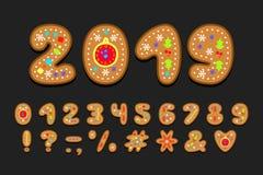 Alphabetplätzchendesign Zahlen und Interpunktionszeichen ENV 10 vektor abbildung