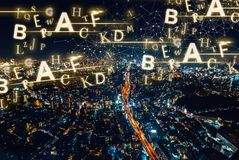 Alphabets with aerial view of Tokyo, Japan Stock Photography
