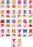 Alphabets anglais A à Z avec des photos Photos stock