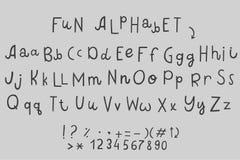 Alphabets anglais de différence drôle de bande dessinée de vecteur illustration stock