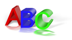 The alphabets A, B, C. Isolated on white Royalty Free Stock Photography