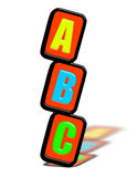 The alphabets A, B, C. Isolated on white Stock Photography