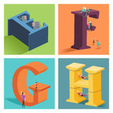Alphabets concept in 3D. A vector illustration of alphabets concept in 3D from E to H Stock Images