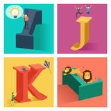 Alphabets concept in 3D. A vector illustration of alphabets concept in 3D from I to L Stock Image