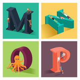 Alphabets concept in 3D. A vector illustration of alphabets concept in 3D from M to P Stock Photography