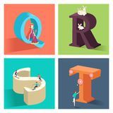 Alphabets concept in 3D. A vector illustration of alphabets concept in 3D from Q to T Royalty Free Stock Photography