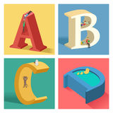 Alphabets concept in 3D. A vector illustration of Alphabets concept in 3D from A to D Stock Images