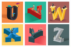 Alphabets concept in 3D. A vector illustration of alphabets concept in 3D from U to Z Stock Images