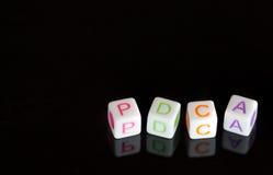 Alphabets cubiques PDCA Photographie stock