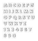 Alphabets d'écriture de polices Art tiré par la main de vecteur Photo stock