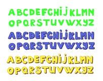 Alphabets d'écriture La police tirée par la main de griffonnage de vecteur a placé dans trois versions Photographie stock libre de droits