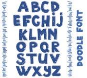 Alphabets d'écriture Vecteur tiré par la main Image libre de droits