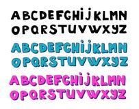 Alphabets d'écriture Vecteur tiré par la main Photos libres de droits