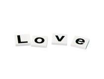 Alphabets d'amour d'isolement au-dessus du fond blanc (isolement de chemin de coupure) Images libres de droits
