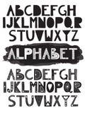 2 alphabets drôles de griffonnage latin de vecteur Photographie stock libre de droits