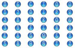 Alphabets et numéro dans le bouton en verre 3D Photo libre de droits