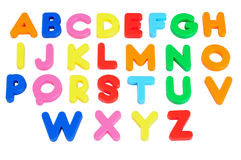Alphabets. Isolated. Magnet learning alphabets over white Royalty Free Stock Photography