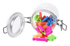 Alphabets in Jar Royalty Free Stock Photo