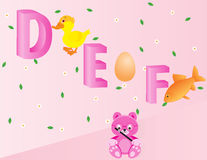 Alphabets for kids- DEF. Capital D, E and F with duck, egg, and fish Available in EPS 10 format Royalty Free Stock Image