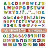 Alphabets and numbers, fonts, color. Alphabets and numbers, color, fonts vector set vector illustration