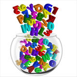 Alphabets and numbers pot Royalty Free Stock Photos