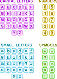 Alphabets Numbers and Symbols Royalty Free Stock Photos