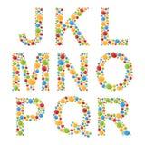 alphabets Placez les lettres des bulles ou de la sucrerie colorées stylisées Photographie stock