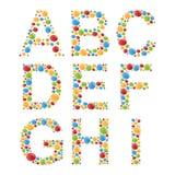 alphabets Placez les lettres des bulles ou de la sucrerie colorées stylisées Photos libres de droits