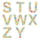 alphabets Placez les lettres des bulles ou de la sucrerie colorées stylisées Image libre de droits