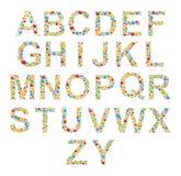 alphabets Placez les lettres des bulles ou de la sucrerie colorées stylisées Photo stock