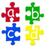 Alphabets puzzels. Abcd letters puzzle pieces Stock Images