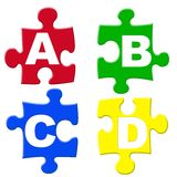 Alphabets puzzels. ABCD letters puzzle pieces Royalty Free Stock Photo