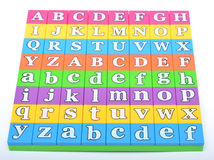 Alphabets in a puzzle set closeup view Royalty Free Stock Photos