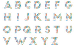 Set alphabets. Set of alphabets with polygonal pattern Stock Photo