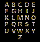 Alphabets in Silver Metal Texture & Golden Strock on Black Background Royalty Free Stock Photo