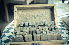 alphabets stamp in the box. Stock Images