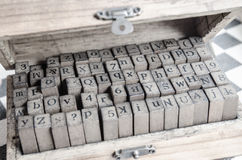 alphabets stamp in the box. Royalty Free Stock Image