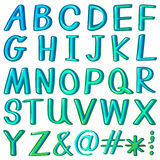 Alphabets. And symbols in aqua blue color Royalty Free Stock Photo